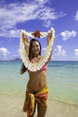 polynesian beauty at the beach