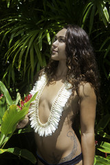 polynesian beauty in her garden