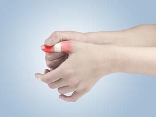 Adhesive Healing plaster on finger.