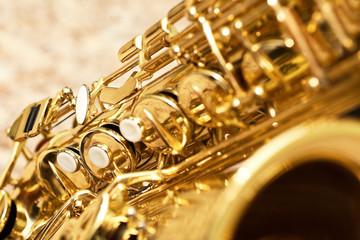 Wall Mural - Fragment saxophone closeup