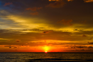 Beautiful sunset on the beach in Thailand