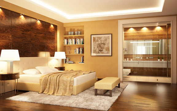 Bedroom with bathroom in a modern style