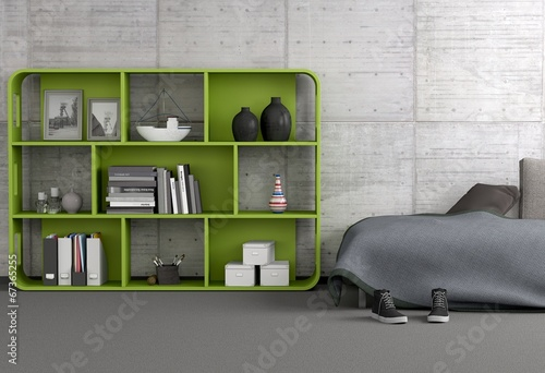 gr nes regal im wohnraum stock photo and royalty free. Black Bedroom Furniture Sets. Home Design Ideas