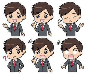 スーツ男性 表情セット