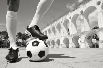 Brazilian Football Player Standing on Soccer Ball Lapa Rio