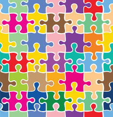 Seamless colorful puzzle texture