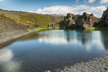 Landscape with lake and lava rocks in Iceland.