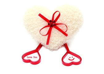 White & red heart of love, isolated on white background.