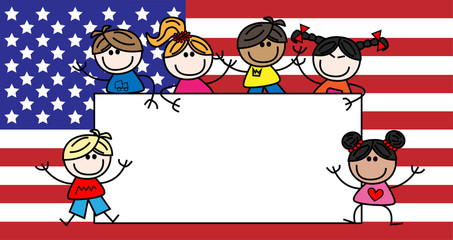 mixed ethnic children american flag