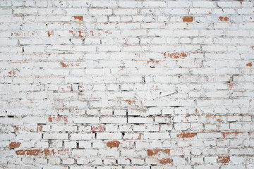 Printed roller blinds Brick wall Cracked white grunge brick wall textured background stained old