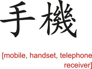 Chinese Sign for mobile, handset, telephone receiver