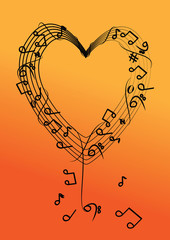 vector music note on heart background