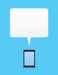 Phone with large blank speech bubble