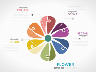 Nature concept infographic template with flower