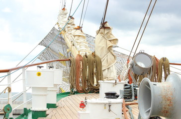 Part of sail yacht with thick ropes