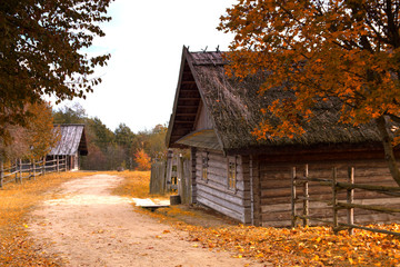antique wooden village in the heart of Europe