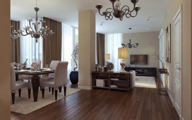 Luxury living room, dining room, art deco style