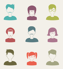 trendy flat people icons set 2