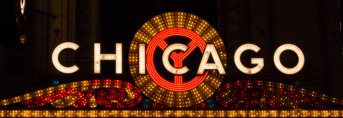 Fotobehang Chicago Chicago Sign Landscape
