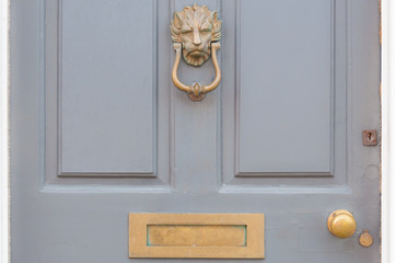 Door knocker and letter box close up