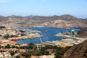 Aerial view over the port of Cartagena, region Murcia, Spain
