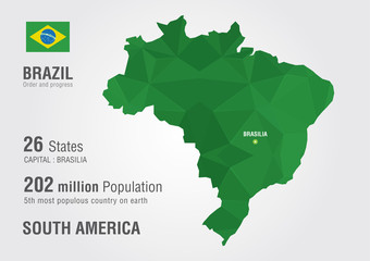 Brazil world map with a pixel diamond texture. Wall mural