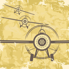 Vintage grunge postcard design with plane. Vector