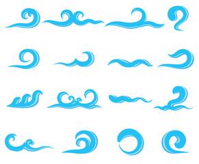 Set of blue sea waves, water splashing
