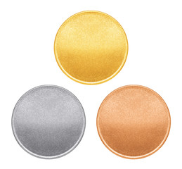 blank template for copper coin or medal with metal texture buy