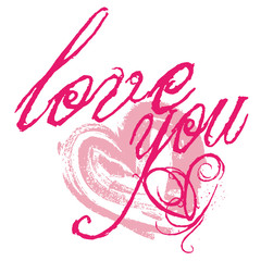 love you, heart, handwriting, calligraph, text, pink