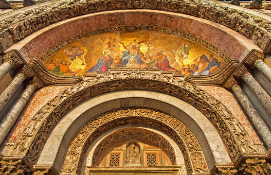 Detail of the St Mark's Basilica in Venice, Italy