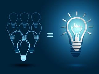light bulb ideas with light bulbs on blue background
