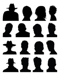 Set of silhouettes of heads, vector