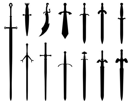 Black silhouettes of swords on a white background, vector