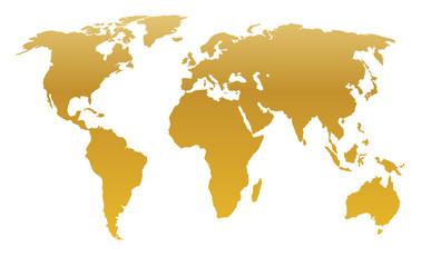 Foto auf Leinwand Weltkarte gold world map