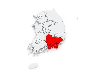 Map of Gyeongsang. South Korea.