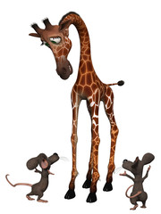 Giraffe with two cartoon mice. Tall small concept