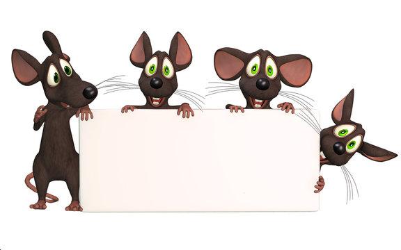cartoon mice with a blank board