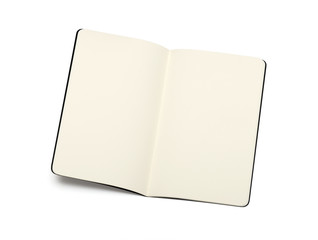 opened blank moleskine note books - soft pages texture - isolate