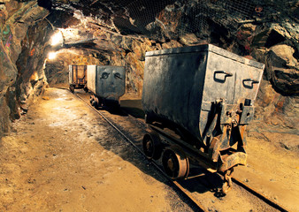 Wall Mural - Underground mine tunnel, mining industry