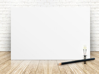 paper poster on the white  brick wall and the wood floor,templat