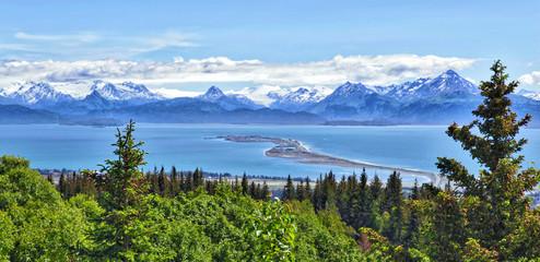 Alaskan mountain and bay, Homer Spit, Kenai Peninsula Wall mural