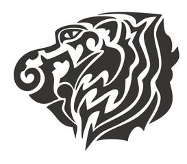 Tribal tiger head. Black on the white