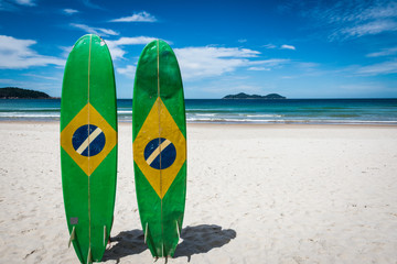 Couple of Surfboard of Brazil, at Ilha Grande Tropical Island, L