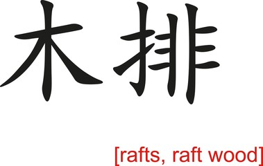 Chinese Sign for rafts, raft wood