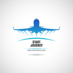 Label with the plane taking off. Vector.