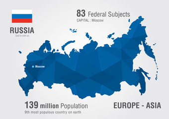 Wall Mural - Russia world map with a pixel diamond pattern.