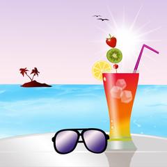 fresh cocktail on the beach