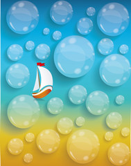 Transparent water drops background, tourism and journey vacation