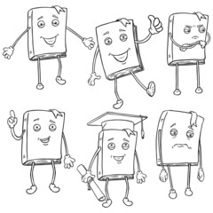 Vector Set of Line Characters - Lively Books.